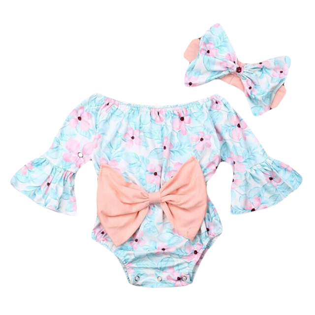 Petite Bello Bodysuit 18-24 Months Bowknot Floral Printed Romper