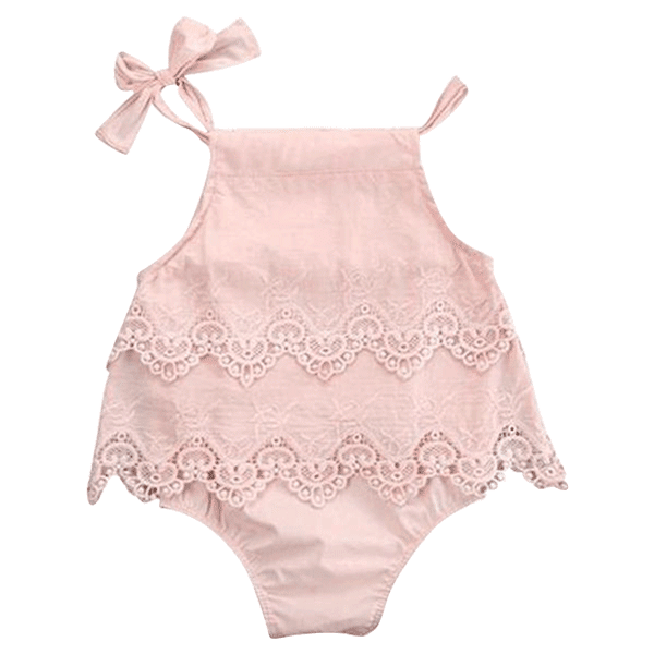 Petite Bello Bodysuit Pink / 0-3 months Girls Lace Crocheted Bodysuit