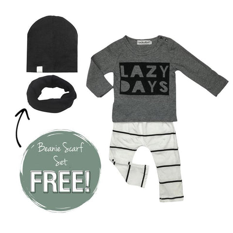 Petite Bello Bundle 0-3 Months / Black Lazy Days Beanie Scarf Bundle