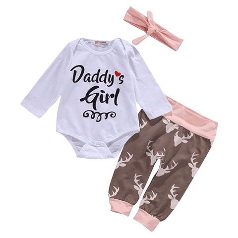 Petite Bello Clothing Set 0-3 Months Daddy's Girl Deer Clothing Set