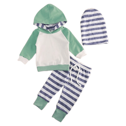 Petite Bello Clothing Set 0-3 Months Grey Stripes 3pcs Hooded Clothing Set