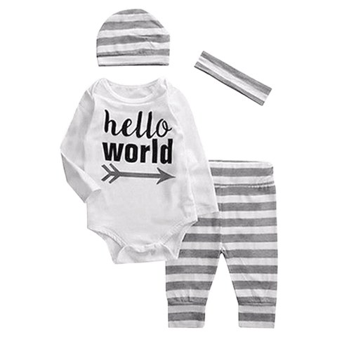 Petite Bello Clothing Set 0-3 months Hello World Grey Stripes 4pcs Clothing Set