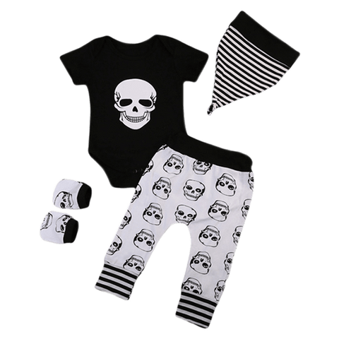 Petite Bello Clothing Set 0-3 Months Skeleton Black Clothing Set