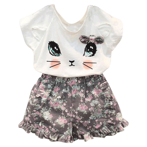 Petite Bello Clothing Set 0-3T Phoebe Cat Floral Clothing Set