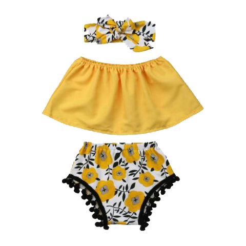 Petite Bello Clothing Set 0-6 Months 3pcs Summer Yellow Clothing Set