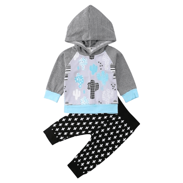 Petite Bello Clothing Set 0-6 Months Cactus Hooded Clothing Set
