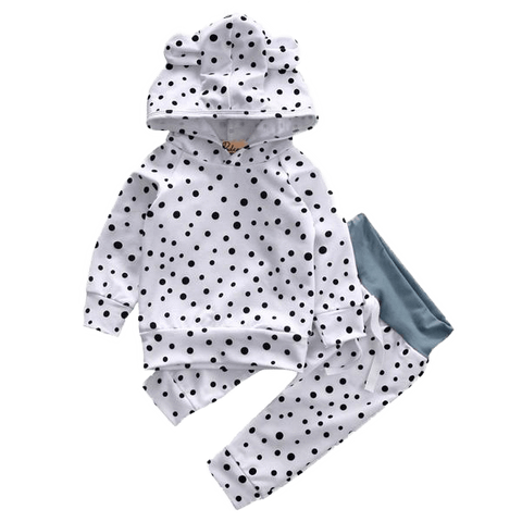 Petite Bello Clothing Set 0-6 Months Cute Dots Hooded Clothing Set