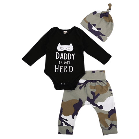 Petite Bello Clothing Set 0-6 Months Daddy is My Hero Camouflage Clothing Set