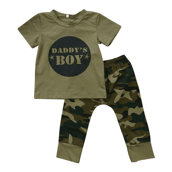 Petite Bello Clothing Set 0-6 Months Daddy's Boy Camouflage Clothing Set