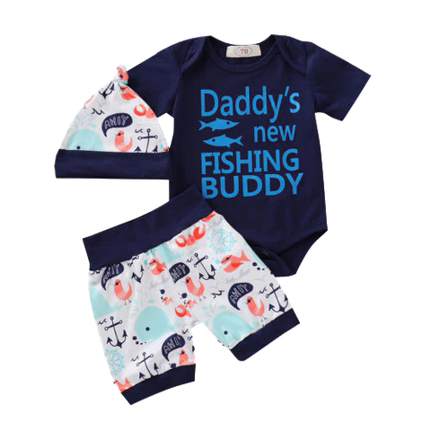 Petite Bello Clothing Set 0-6 Months Daddy's New FIshing Buddy Clothing Set
