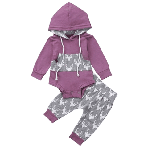 Petite Bello Clothing Set 0-6 Months Deer Lavander Clothing Set
