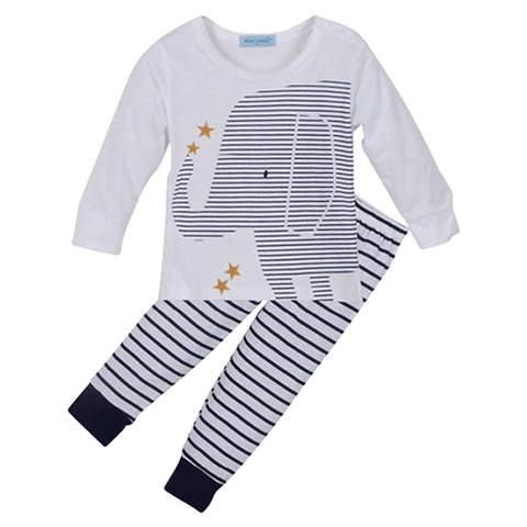Petite Bello Clothing Set 0-6 Months Elephant Striped Clothing Set