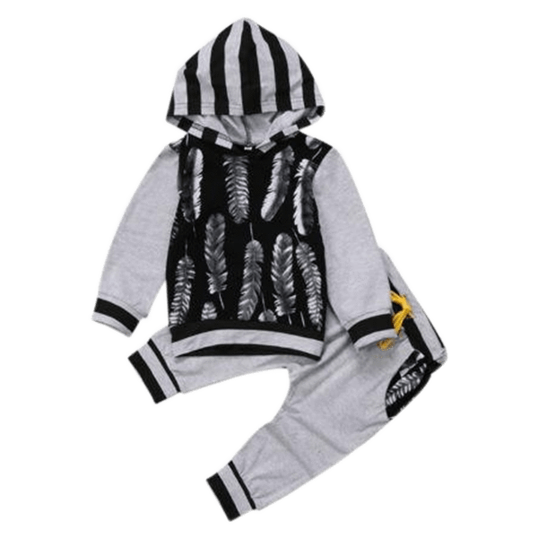 Petite Bello Clothing Set 0-6 Months Feather Hooded Clothing Set