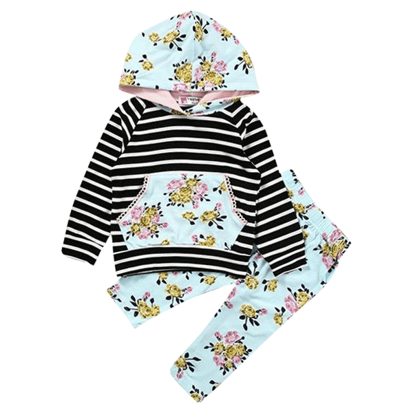 Petite Bello Clothing Set 0-6 Months Floral Striped Clothing Set