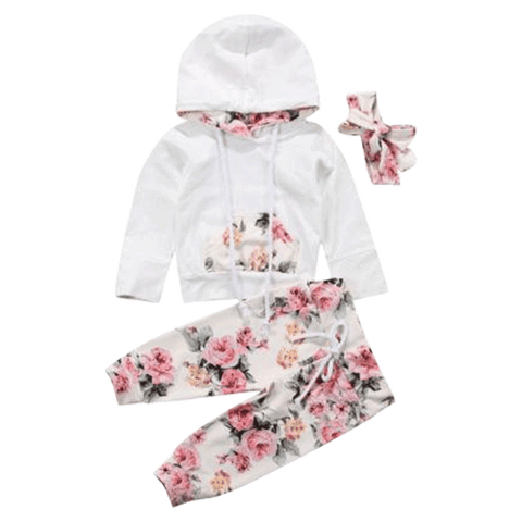 Petite Bello clothing set 0-6 Months Floral White Clothing Set
