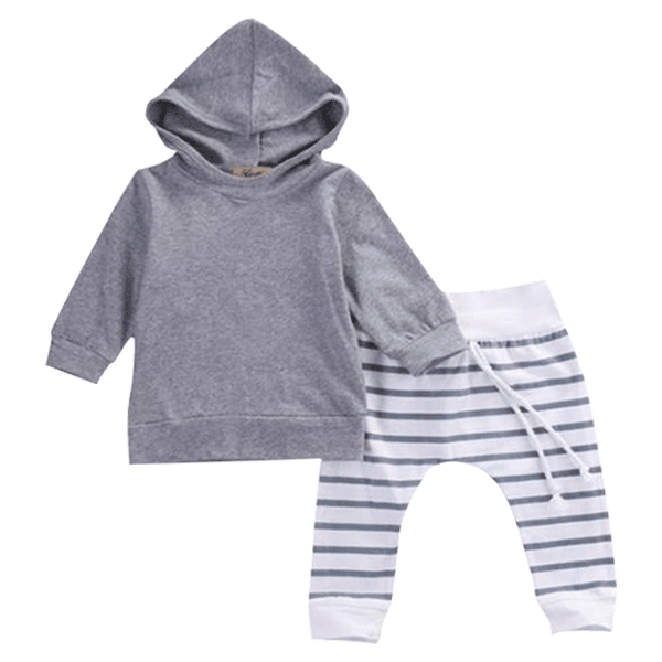 Petite Bello Clothing Set 0-6 months Grey Striped Clothing Set