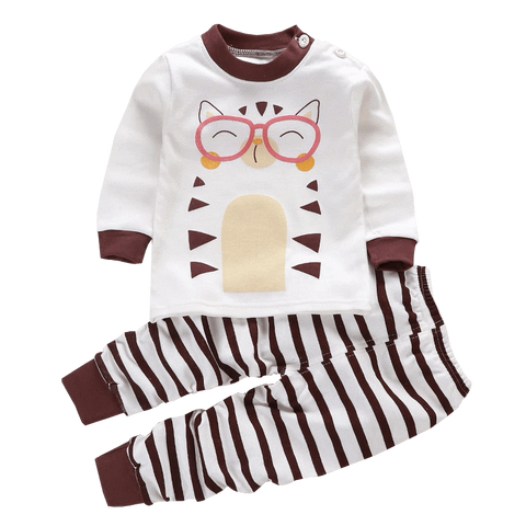 Petite Bello Clothing Set 0-6 Months Kitty Stripes Clothing Set