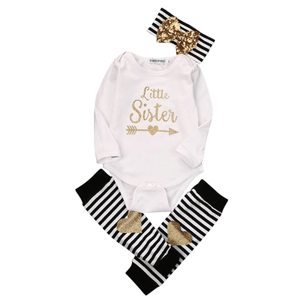 Petite Bello Clothing Set 0-6 months Little Sister Gold Clothing Set