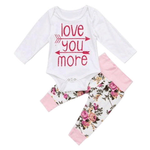 Petite Bello Clothing Set 0-6 Months Love You More Clothing Set
