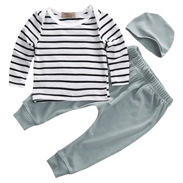 Petite Bello Clothing Set 0-6 Months Mint Striped Clothing Set