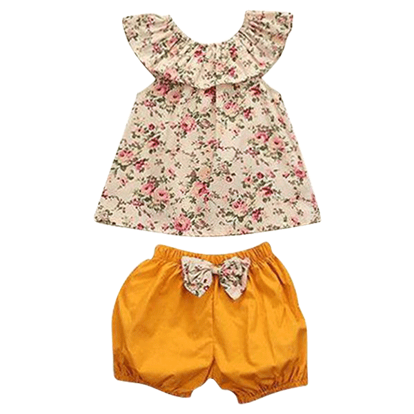 Petite Bello Clothing Set 0-6 Months Orange Floral Clothing Set