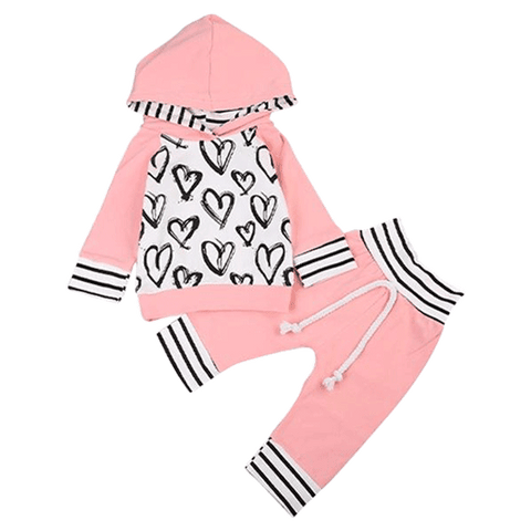Petite Bello Clothing Set 0-6 Months Pink Heart Hooded Clothing Set