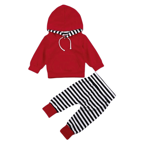 Petite Bello Clothing Set 0-6 Months Red Hooded Striped Clothing Set