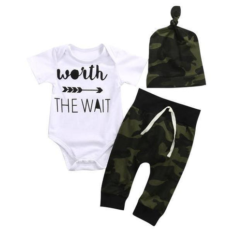Petite Bello Clothing Set 0-6 Months Worth The Wait Camouflage Clothing Set