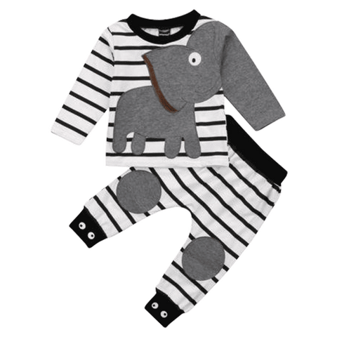 Petite Bello Clothing Set 1-2T Cute Elephant Striped Clothing Set