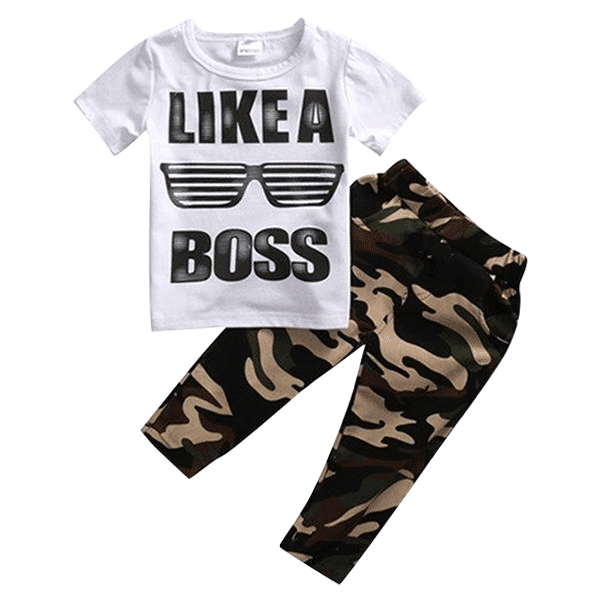 Petite Bello Clothing Set 1-2T Like a Boss Camouflage Clothing Set