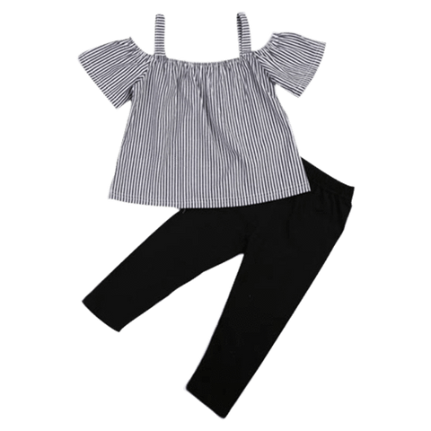 Petite Bello Clothing Set 12-18 Months Girl Black Striped Clothing Set