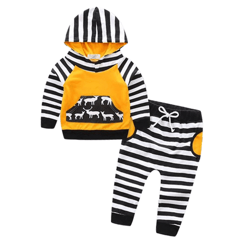 Petite Bello Clothing Set 2-3T Deer Yellow Striped Clothing Set