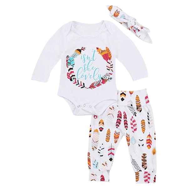 Petite Bello Clothing Set 3-6 Months Isn't She Lovely Feathers 3pcs Clothing Set