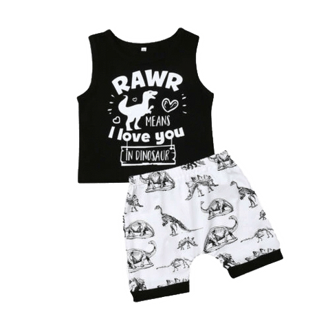 Petite Bello Clothing Set 6-12 Months Rawr In Dinosaur Summer Set