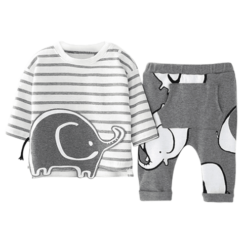 Petite Bello Clothing Set 9-12 Months Grey Elephant Clothing Set