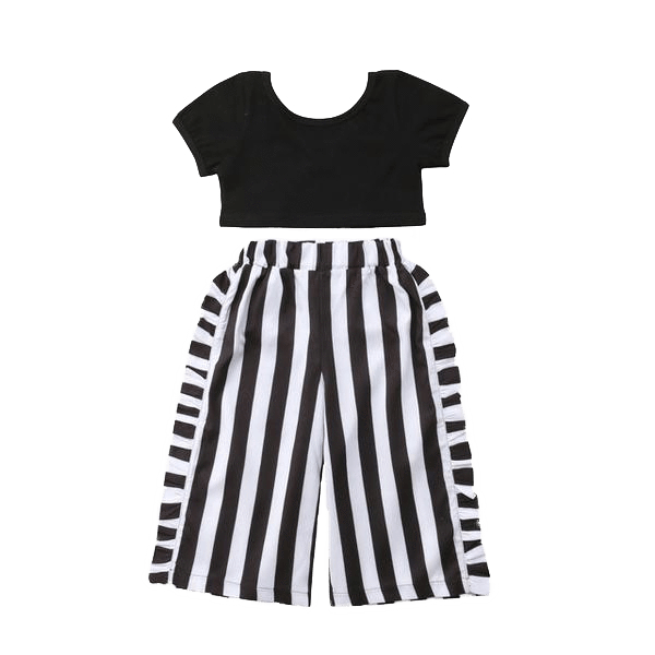 Petite Bello Clothing Set Black / 2-3T Short Sleeve Black Crop Tops  Clothing Set