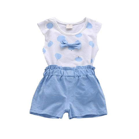 Petite Bello Clothing Set Blue / 18-24 Months Bowknot 2pcs Girls Summer Clothing Set