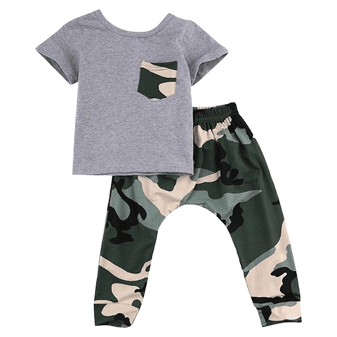 Petite Bello Clothing Set Gray / 0-6 Months Camouflage Sport Clothing Set