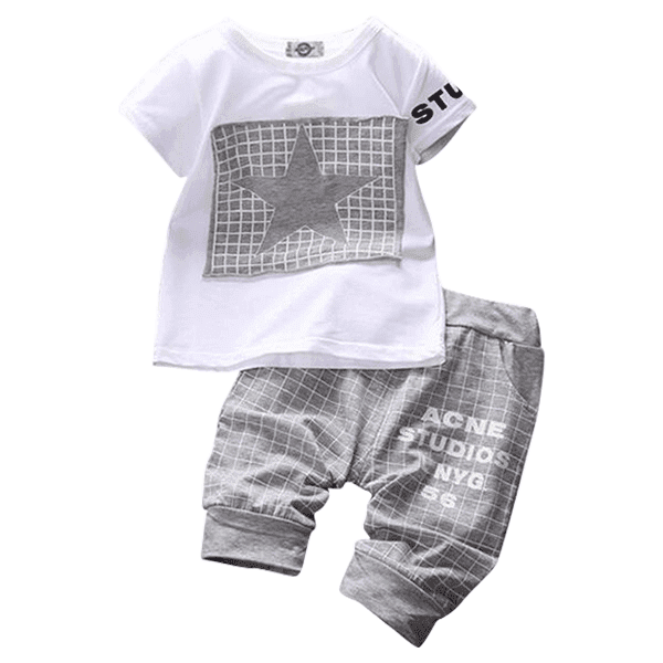 Petite Bello Clothing Set Gray / 12-18 Months Star Plaid Clothing Set