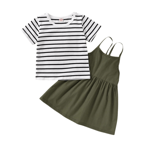Petite Bello Clothing Set Green / 18-24 Months Striped T-Shirt Clothing Set