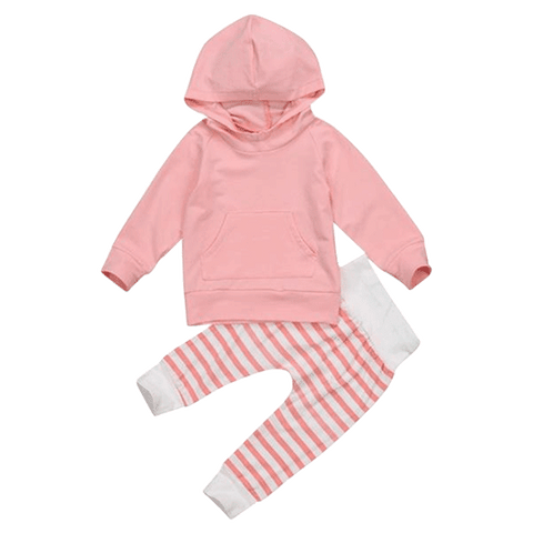 Petite Bello Clothing Set Pink / 0-6 Months Striped Pants Hooded Clothing Set