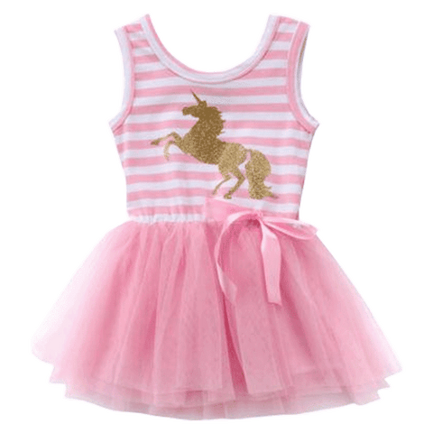 Petite Bello Dress 6-12 Months Unicorn Pink Striped Dress