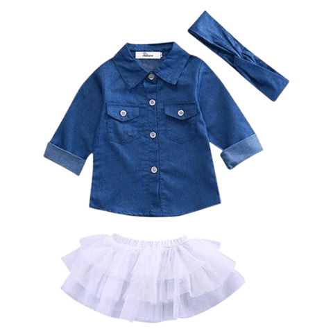 Petite Bello Dress Set 0-12 Months Denim Long Sleeve & Tutu Lace Dress Set