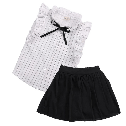 Petite Bello Dress White / 2-3T Black & White Bow Clothing Set