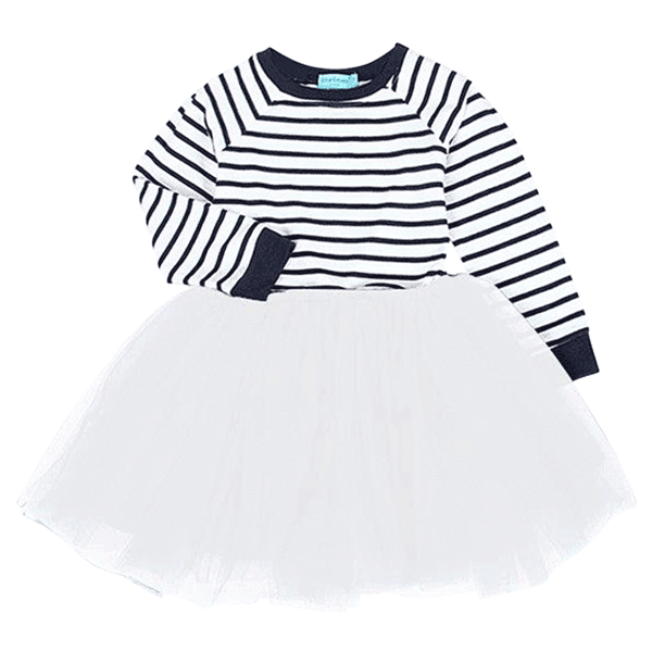 Petite Bello Dress White / 3T Striped Princess Dress