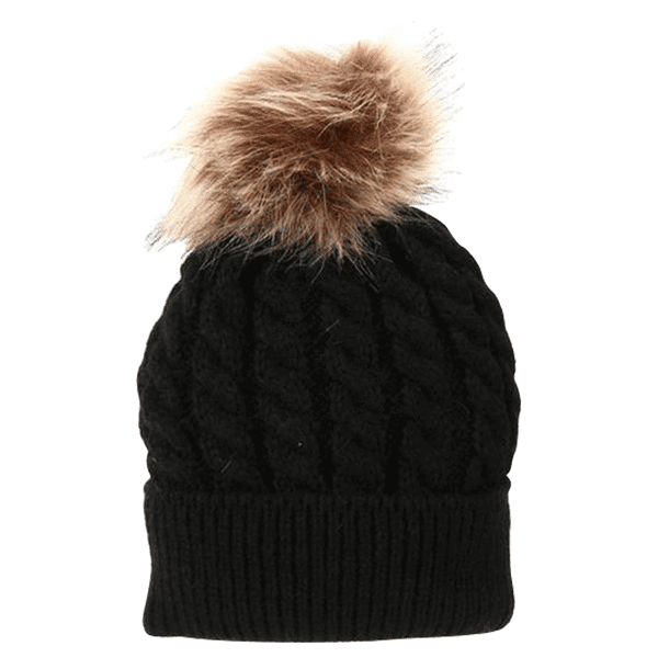 Petite Bello hat Black / Small Fur Ball Mommy & Baby Hat