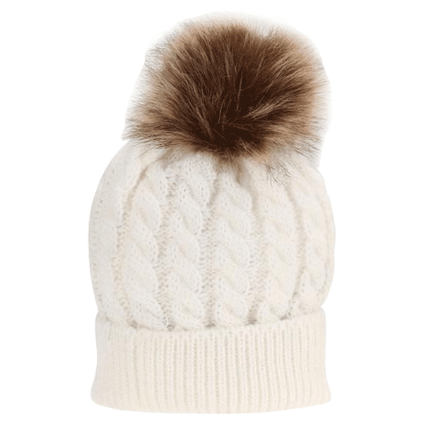 6fc56f10cf9 Petite Bello hat White   Small Fur Ball Mommy   Baby Hat