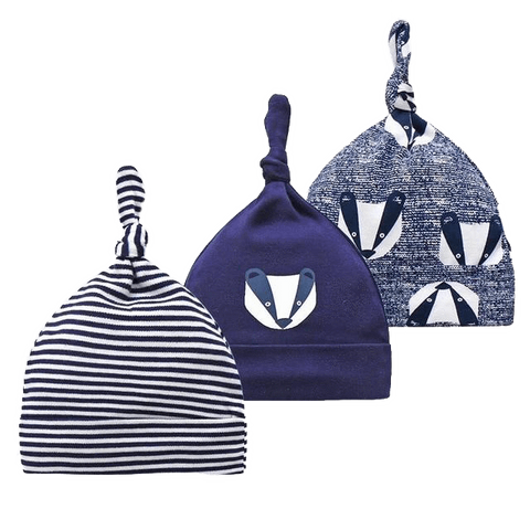 Petite Bello HATS Mixed Blue Striped Beanie Set