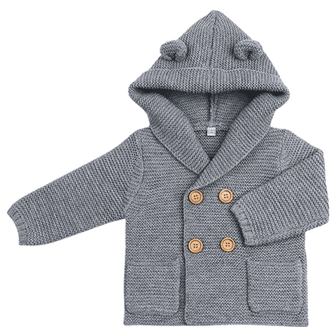 Petite Bello jacket Gray / 0-6 Months Solid Hooded Knitted Jacket