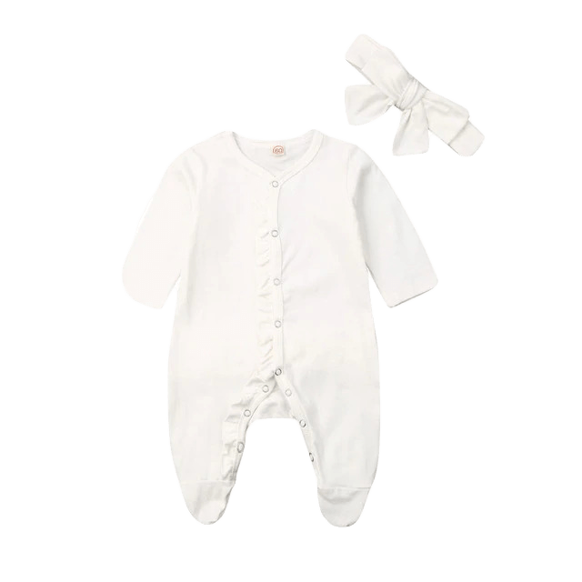 Petite Bello Jumpsuit White / 0-3 Months Ruffled Footies Jumpsuit